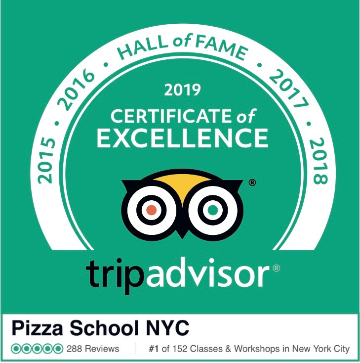 Pizza School NYC awarded the TripAdvisor Hall of Fame