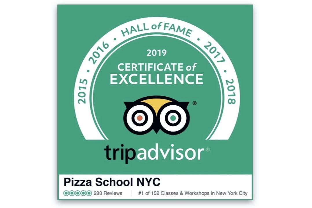 Pizza School NYC awarded the TripAdvisor Hall of Fame